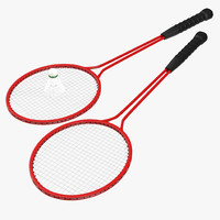 3d badminton racket 2 shuttlecock