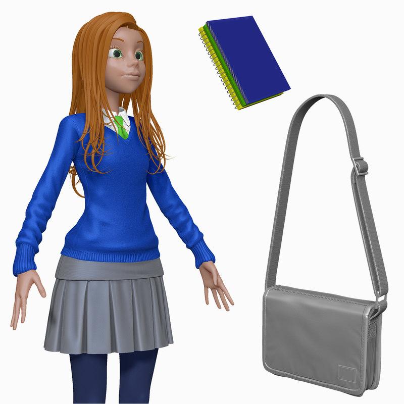 3d sculpt cartoon teenage student model