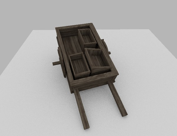 3ds max wooden cart