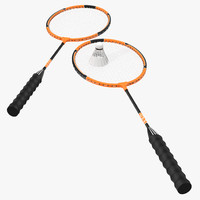 Badminton Racket and Shuttlecock 3D Models