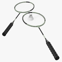 Badminton Racket and Shuttlecock 2 3D Models