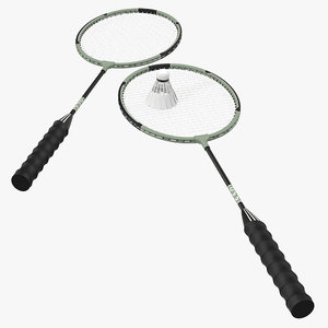 badminton racket shuttlecock 2 3d model
