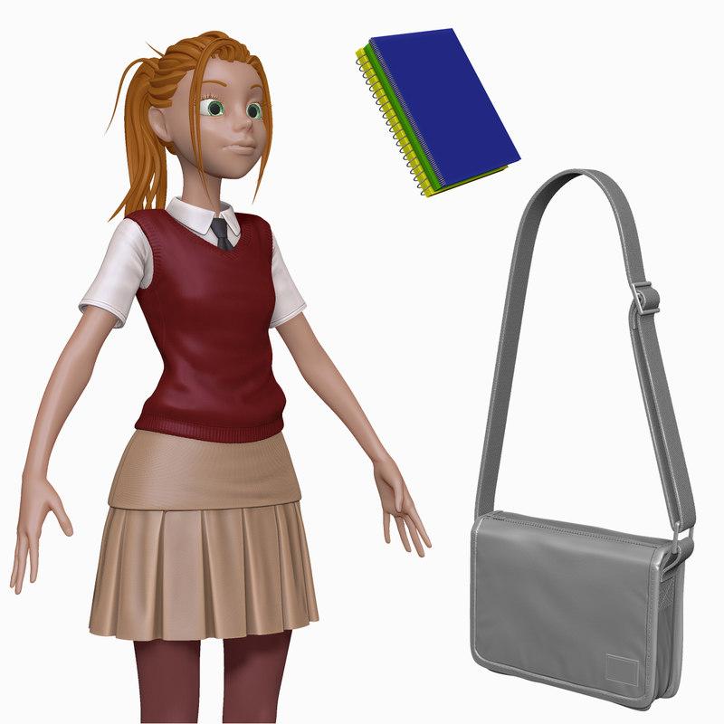 3d model of sculpt cartoon teenage student