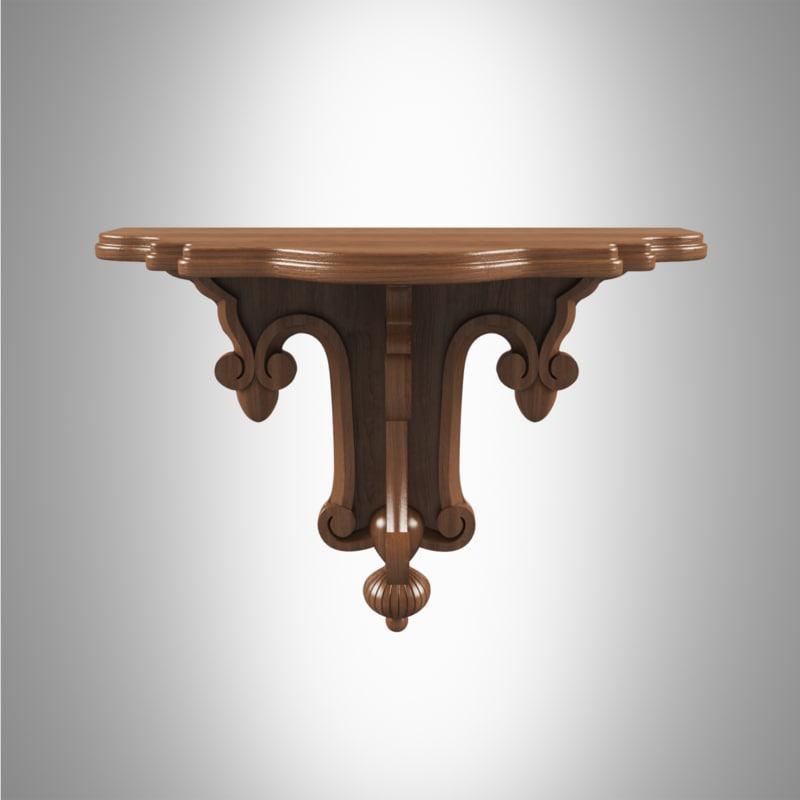 carved shelf 3d max