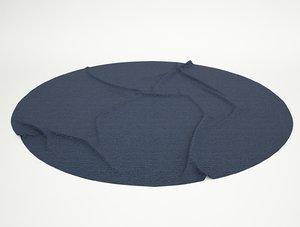 3d blue rug wrinkles circle