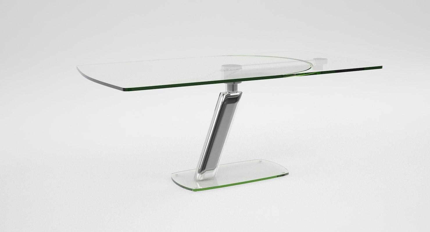 tavolo cristallo allungabile crystal 3d max