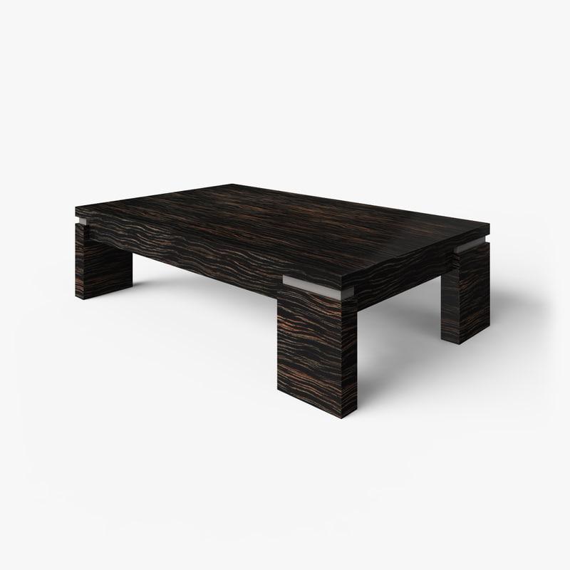 3d coffee table macassar wood