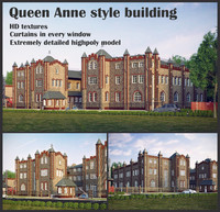 queen anne building 3d max
