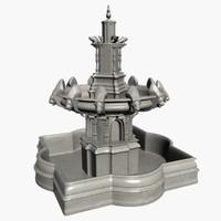 3dsmax fountain 3 tier