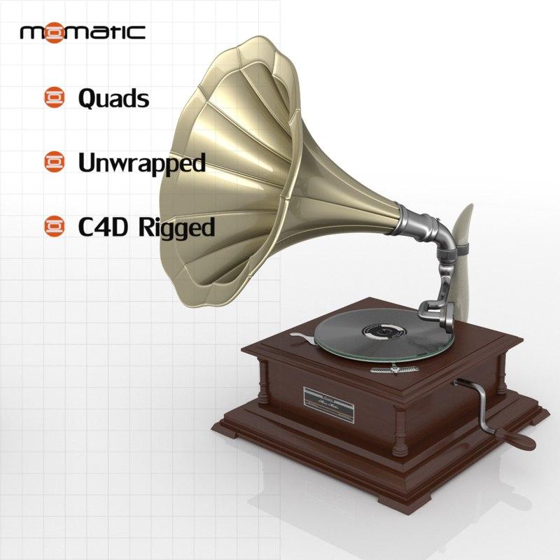 3d model gramophone disc