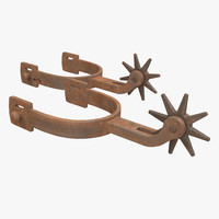 old west spurs modeled 3d max
