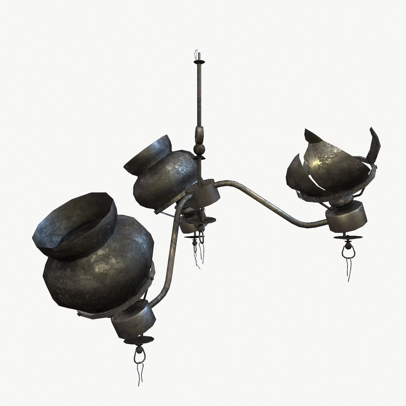 3d model ready chandelier burned lights
