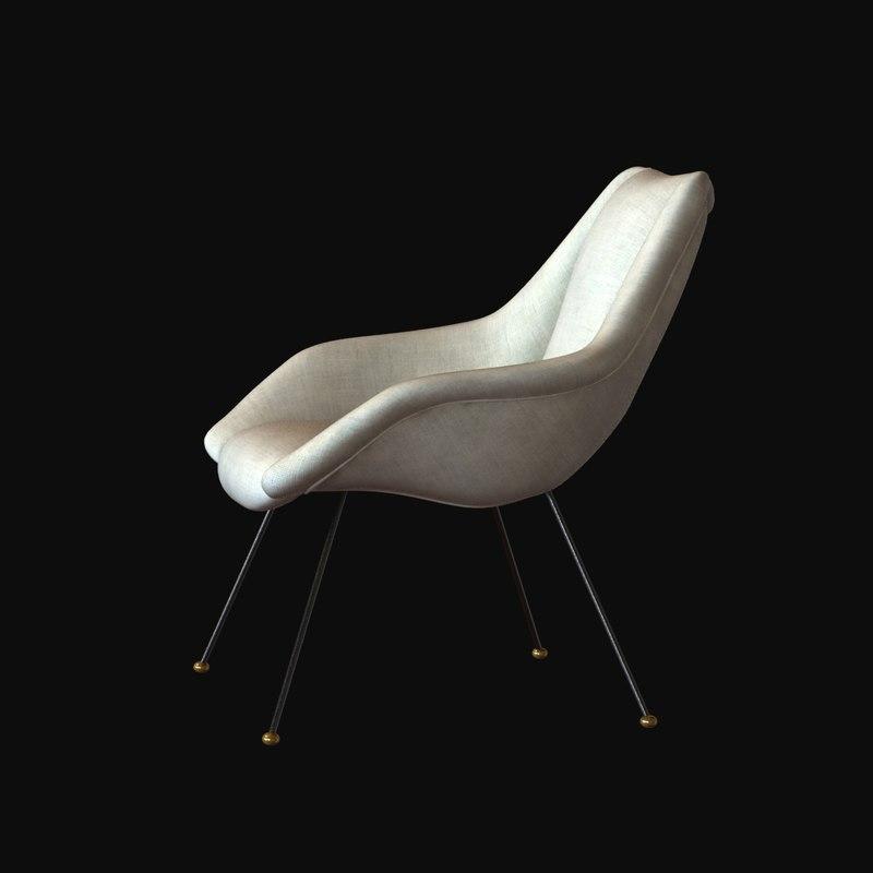 3d model chair lounge carlo hauner