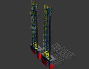 3d spud barge model