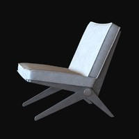 3d chair scissor pierre jeanneret