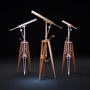 3dsmax 19th-c -parisian-brass-telescope