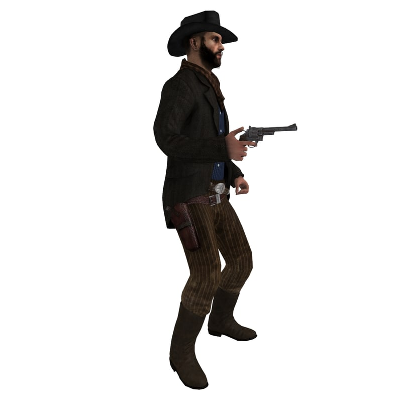 3d model rigged cowboy hat 4