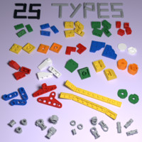 3d model of lego technic bricks