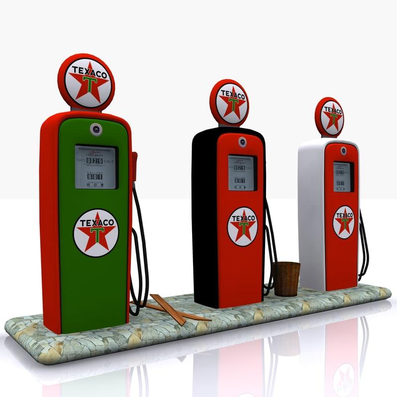 3d model gas pump texaco
