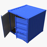 8 ft Storage Container Blue 3D Model