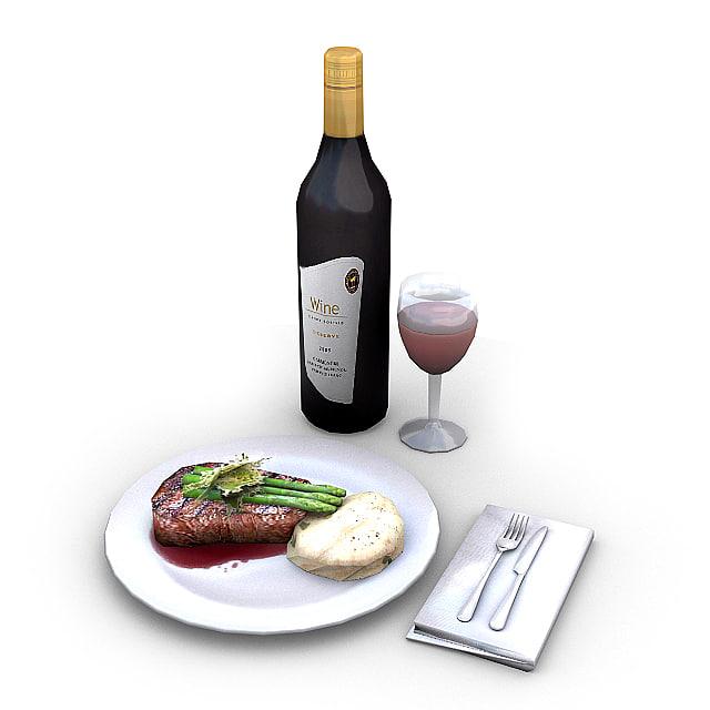 meal glass wine 3d model