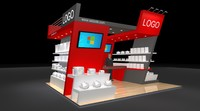 open exhibition booth stand 3d model