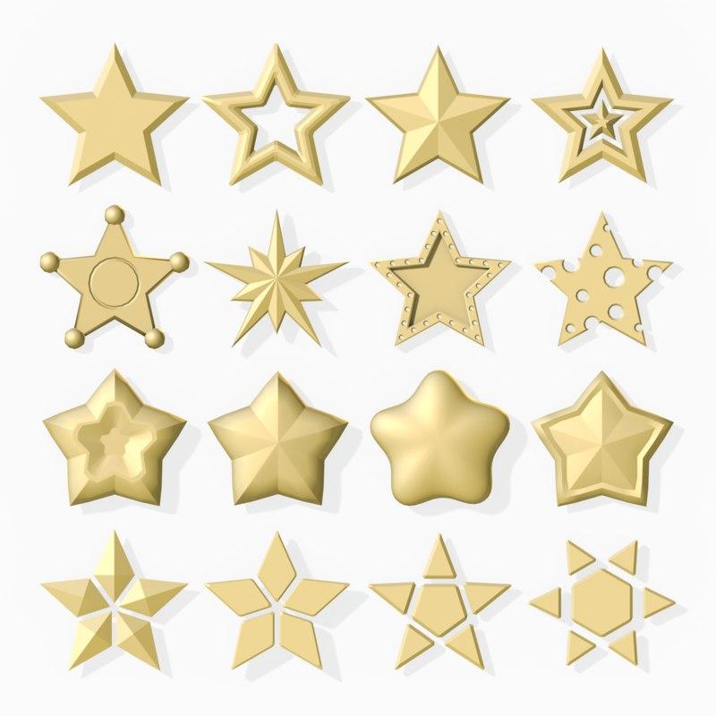 16 stars 3d model