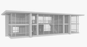 modernist house interior obj