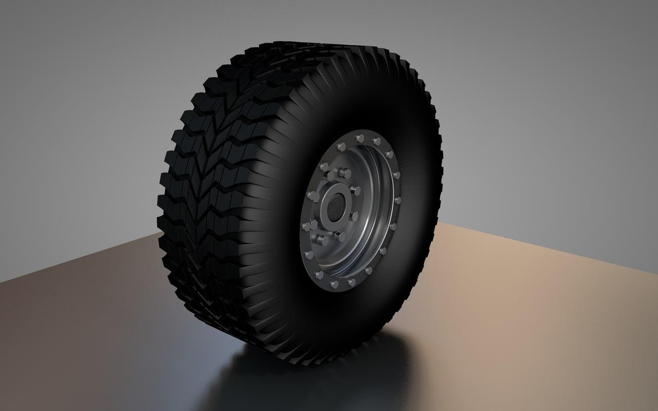 3d model road tire rim military
