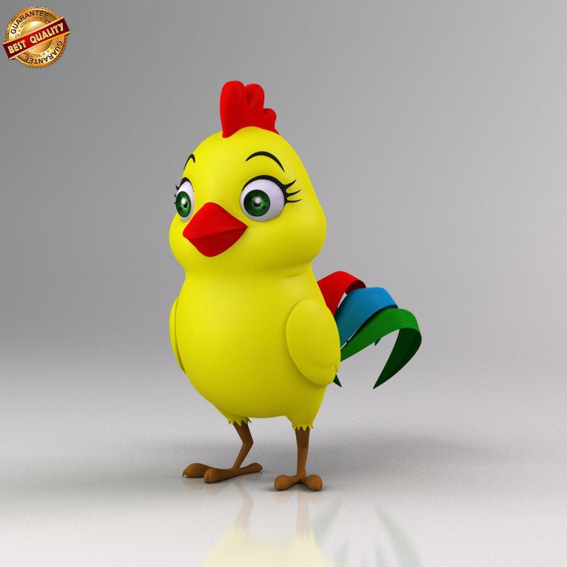cartoon baby chicken 3d model