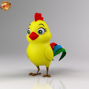 cartoon baby chicken 3d model