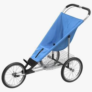 3d jogging stroller modeled
