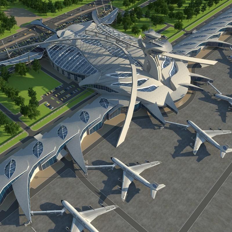 3d model futuristic airport