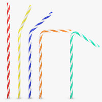 3d drinking straw 5 pose model