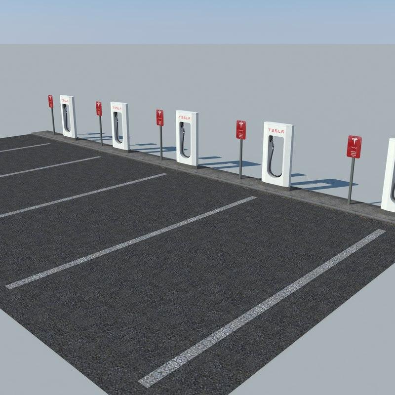 parking tesla supercharger 3ds