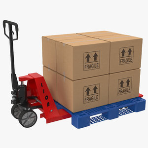 3d pallet jack plastic set model