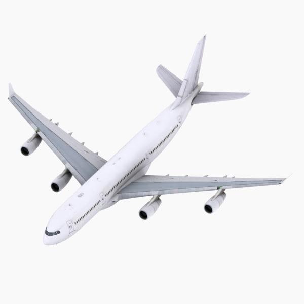 a340-200 simulations aircraft 3d model