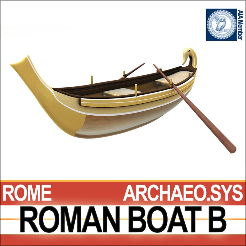 3d ancient roman boat b