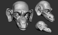 creature head sculpted obj