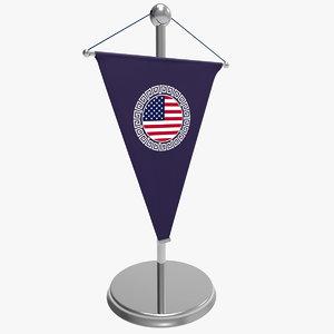 3d model of flag desktop