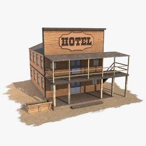 3d model wild west hotel house