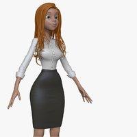 3d model cartoon business woman h1o1