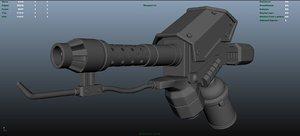 flamethrower gun 3d obj