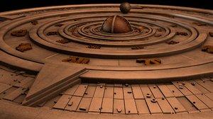 3d stone compass model