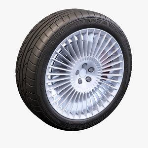 3dsmax 36 spokes wheel bridgestone potenza