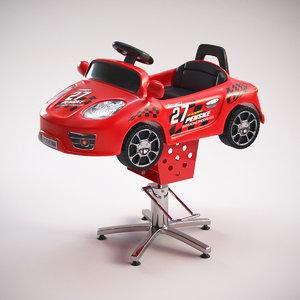 3d model children barber chair kids