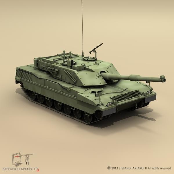 3d model ariete battle tank
