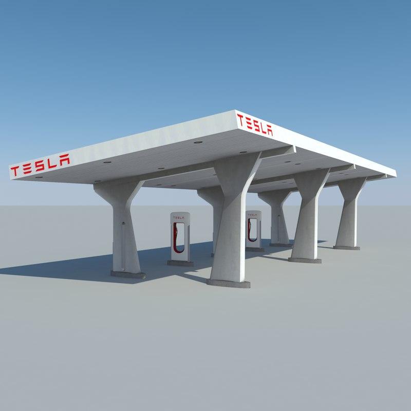 3d tesla supercharging station model