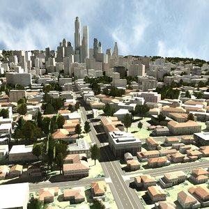 cityscape scene highrise obj