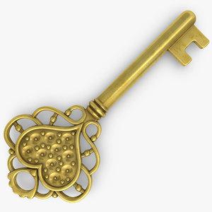 3d love key gold silver